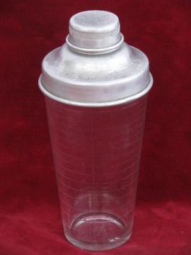 Art deco vintage glass cocktail mixer, 1930s Hazel Atlas mixing jar, shaker top