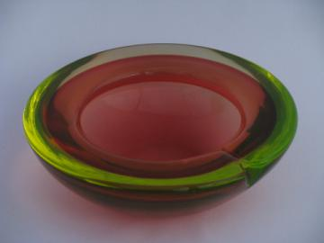 Art deco vintage pink & vaseline green dichroic art glass bowl or big ashtray