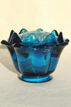 artichoke shape flower bowl & frog insert, mod vintage Viking glass bluenique aqua blue