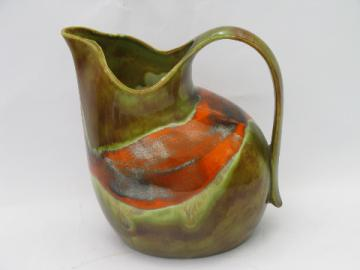 Artist marked Webber / Blue Eye Missouri ceramic pitcher, retro vintage glazes