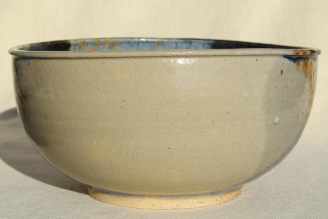 artist signed studio pottery bowl, hand thrown clay w/ sand and sea colored glaze