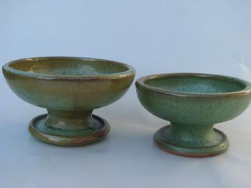 Arts and crafts vintage art pottery candlesticks, matte green glaze