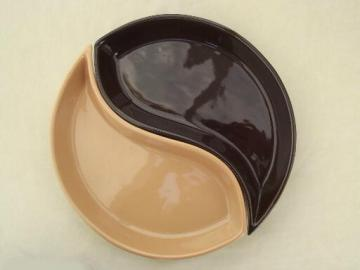At Home America two part round serving dishes, yin yang kidney shape