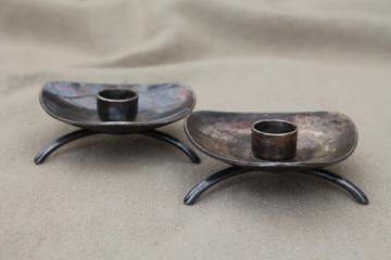 ATLA Denmark Carl Gohr silver danish modern candle holders for skinny taper candles