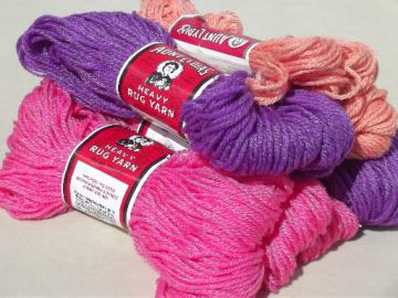 Aunt Lydia's heavy rug yarn, chunky polyester craft yarn, retro pink & purple!