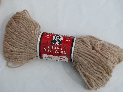 Aunt Lydia's heavy rug yarn new old stock vintage, beige light tan