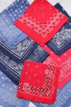 Authentic vintage cotton print bandanas, faded red & blue bandana handkerchiefs