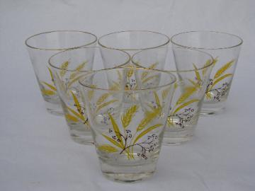 Autumn gold golden wheat vintage china go-along glasses, set of six