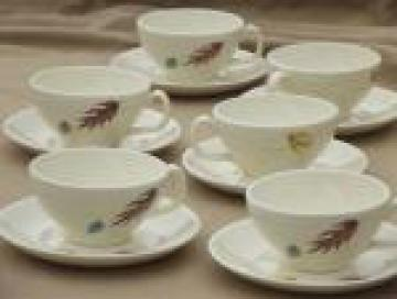 Autumn Leaves Franciscan pottery leaf pattern vintage china cups & saucers
