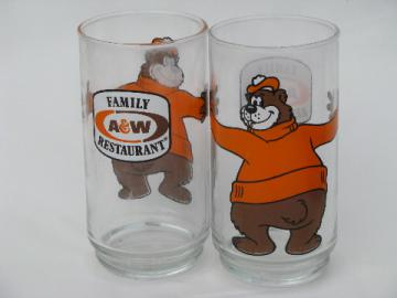 A&W brown bear character vintage root beer advertising glasses