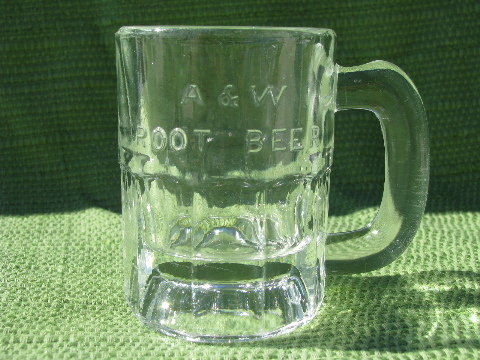 A Amp W Root Beer Vintage Embossed Glass Advertising Mug Mini