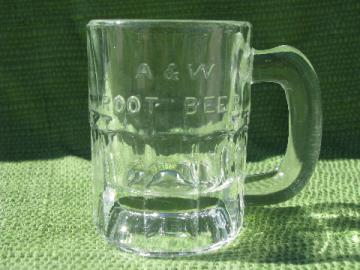 A&W root beer vintage embossed glass advertising mug, mini baby size