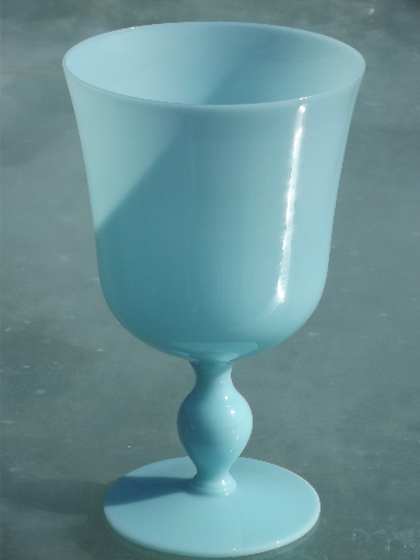 Azure blue opaque milk glass, blown glass goblet vase, vintage Italy
