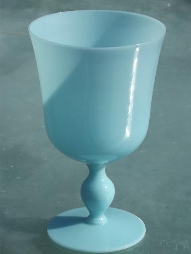 Azure Blue Opaque Milk Glass Blown Glass Goblet Vase Vintage Italy