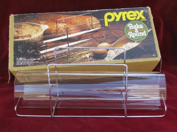 Bake a Round retro Corning / Pyrex glass tube bread pan w/ instructions