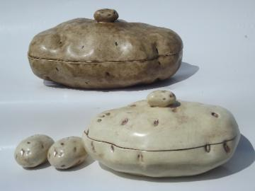 Baked potatoes 70s handmade ceramic potato bowls w/ lids, S&P shakers