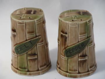 Bamboo pattern vintage ceramic salt & pepper shakers, Enesco S&P
