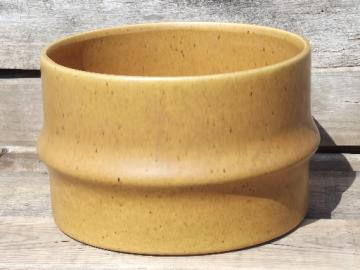 Bamboo planter / large flower pot, vintage Haeger pottery matte gold