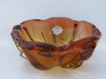 Barbini - Murano label, vintage Venetian glass freeform bowl, orange