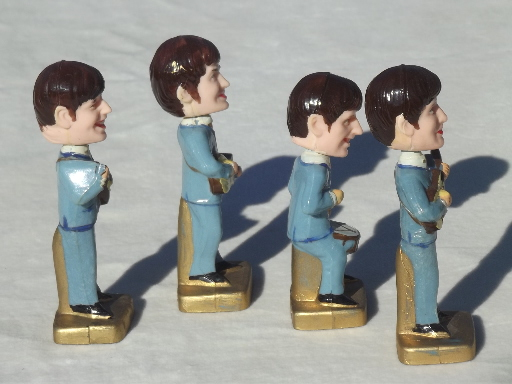 Beatles Bobblehead Plastic Cake Topper Figures 60s