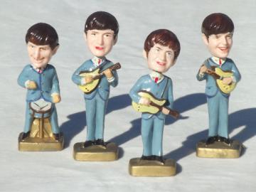 Beatles bobblehead plastic cake topper figures, 60s vintage bobble heads