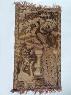 Beautiful faded vintage  cotton plush velvet tapestry, peacock prayer rug