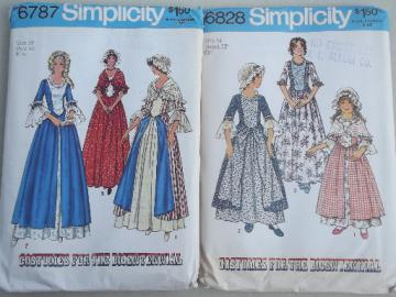 Bicentennial vintage Simplicity Williamsburg dresses for misses, girls