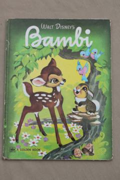 big Golden book, 70s vintage 1940s edition Disney's Bambi Disney movie pictures