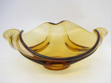 Big amber glass centerpiece bowl, retro 60s vintage Viking Epic art glass