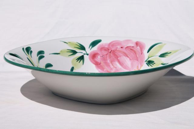 big ceramic salad bowl or pasta bowl, vintage hand-painted Italian pottery