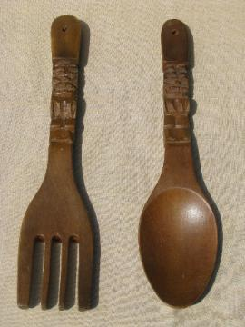 Big fork & spoon, retro tiki vintage carved wood kitchen wall plaques