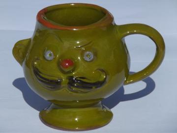 Big goggle eyed retro face w/ mustache mug,  60s vintage mustache cup