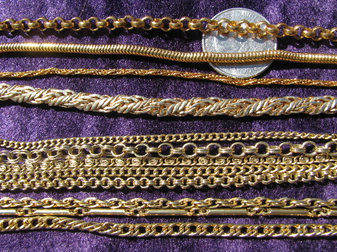 Big long retro gold tone & silver tone chains, vintage costume jewelry lot