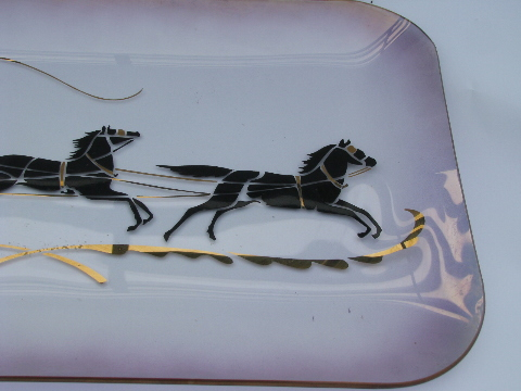 Big luster glass tray, 1950s vintage, Cinderella's coach silhouettes