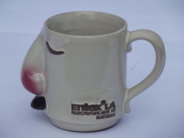 Big nose & mustache mug, coffee cup w/ Entex pharmaceutical advertising