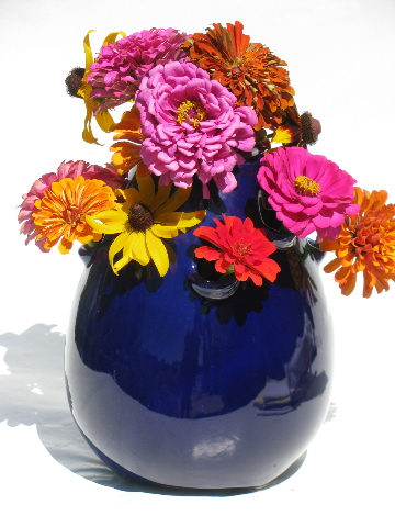 Big Pottery Flower Frog Vase Retro Mod Bulb Shape Cobalt Blue Color