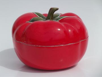 Big red tomato, retro vintage ceramic covered dish serving bowl