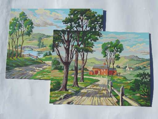 Big retro paint-by-number paintings, country road w/ farm barn pictures