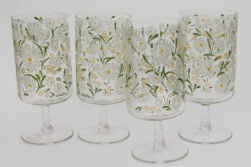 big retro wine glasses, vintage Culver glass summer daisies glassware set