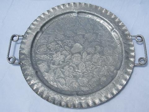 17\u201d In DiameterHand Large Vintage Hand Wrought Aluminum Round Tray  Flowers Pattern