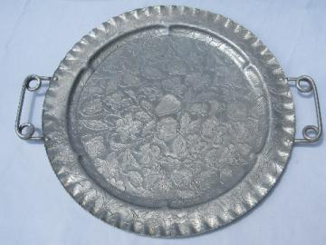 Big round wrought aluminum tray w/ fruit & flowers, retro 50s vintage
