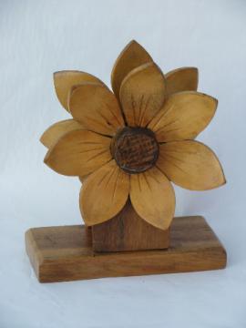 Big tropical flower, retro carved wood letter stand or paper napkin holder