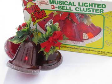 Big vintage lighted plastic bells ornament, musical Chistmas carols