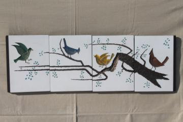 Birds on a branch vintage yard long wall art, set of chalkware panels w/ mod design