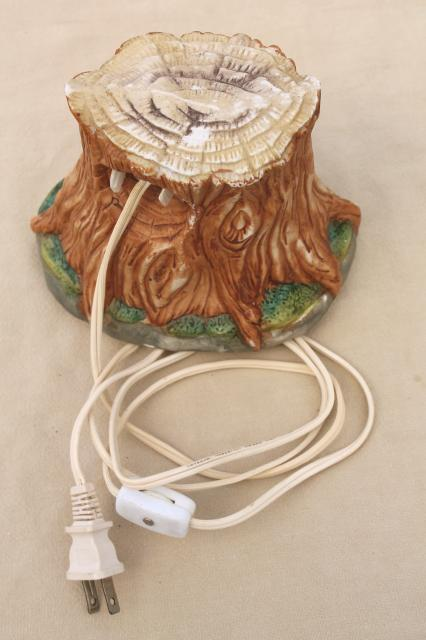 bisque china night light lamp, mother & baby deer in a tree stump grotto