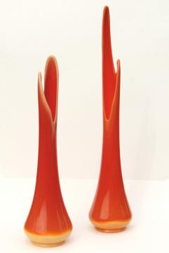 bittersweet orange art glass vases, tall mod 60s vintage glass floor vase set