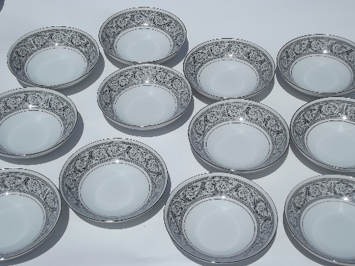 Black and white Valencia pattern Harmony House fine china Japan 12 bowls & vintage china dishes and dinnerware