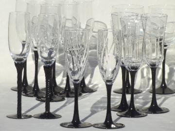 Black glass / crystal wine glasses & champagne flutes, mixed vintage stemware