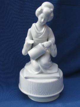 Blanc de chine Japanese geisha girl figure, vintage music box