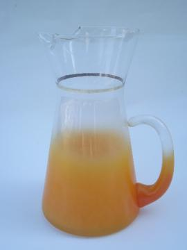 Blendo tangerine orange fade glass cocktail pitcher, mid-century vintage
